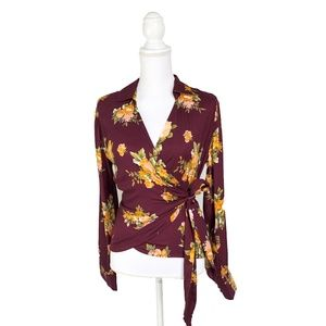 NEW! Stone Row Burgundy Floral Rose Wrap Top | S